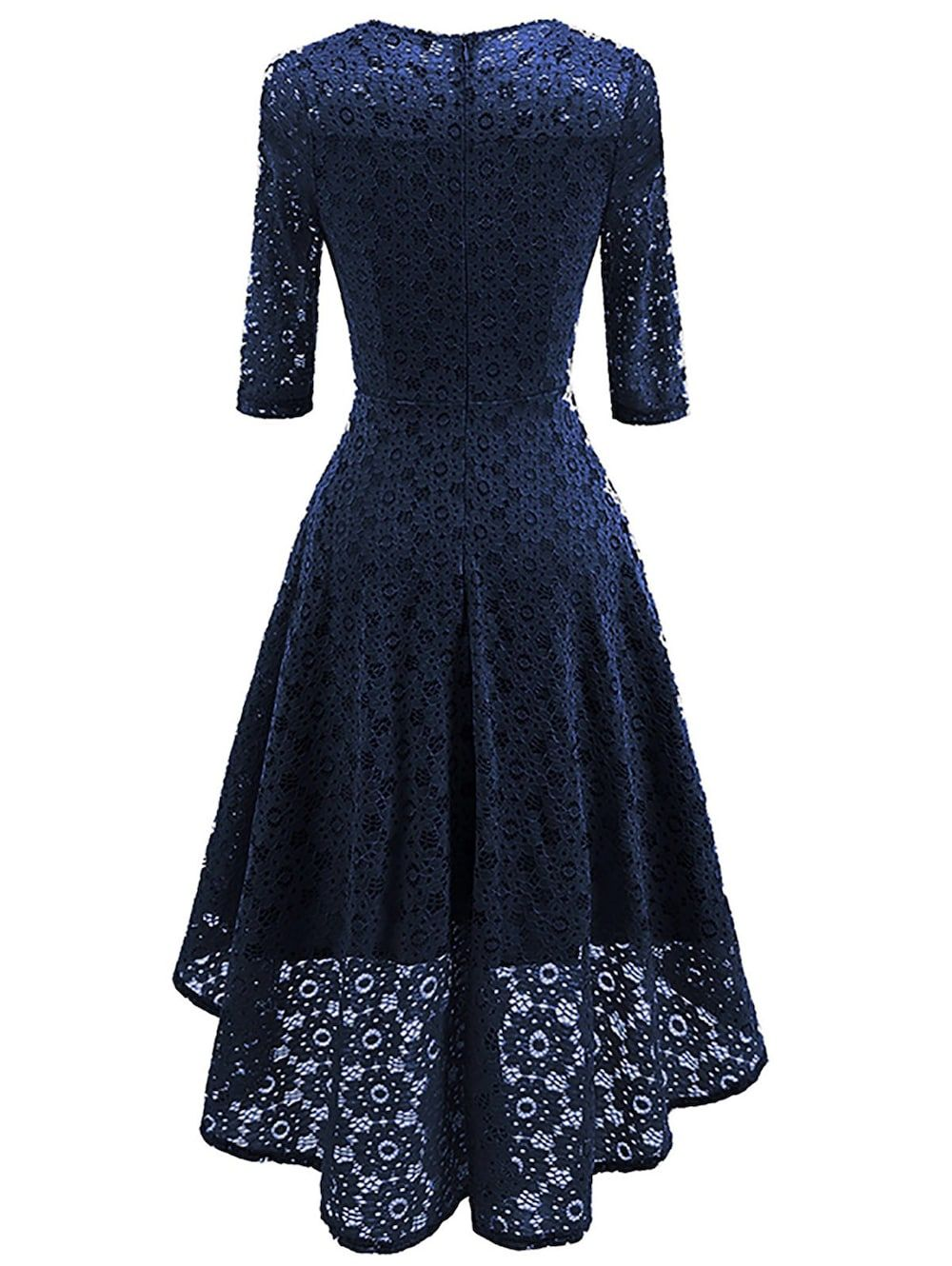 7c17d2a683d5 Lace Crochet High Low Midi A Line Dress - CERULEAN S