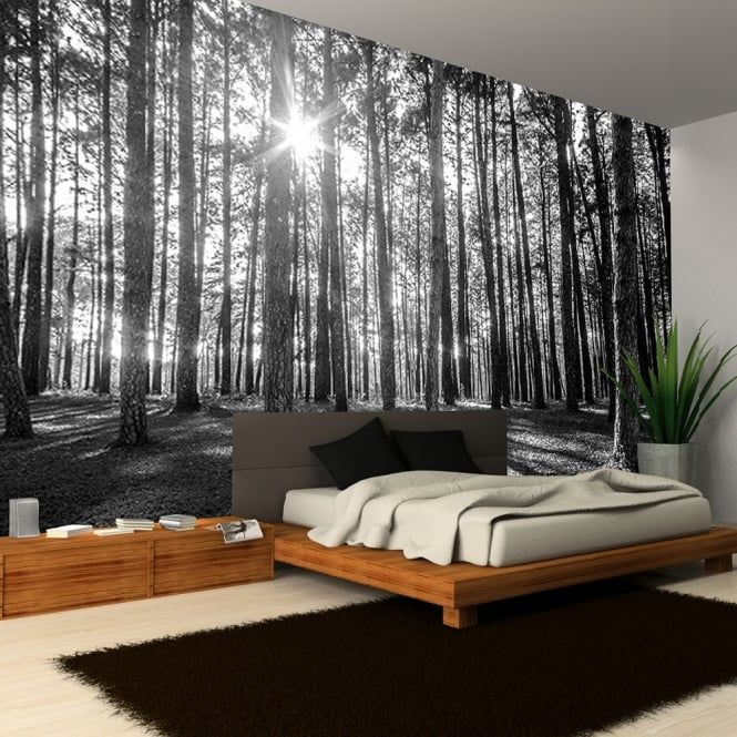 Woodland Wall Decor rainbow black white woodland forest mural photo giant wall decor