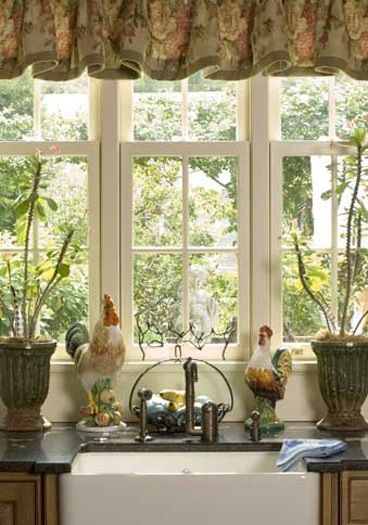 French country kitchen window farm sink with lovely cased windows soft floral valance and a - Country kitchen windows ...