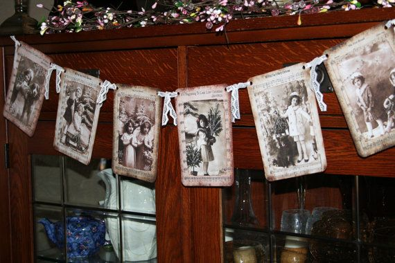 Christmas garland / banner / Victorian by creationsbyminda on Etsy