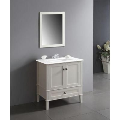 Simpli Home Chelsea 30 in Vanity in Soft White with Quartz Marble