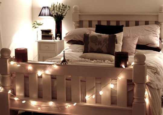 White Christmas Lights Around The Bed Post | Home | Pinterest ...