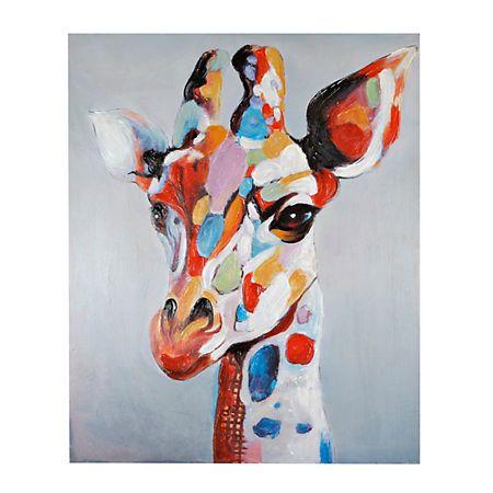 Colorful Serious Giraffe Canvas Art Print Abstract Animal Art Giraffe Painting Giraffe Art
