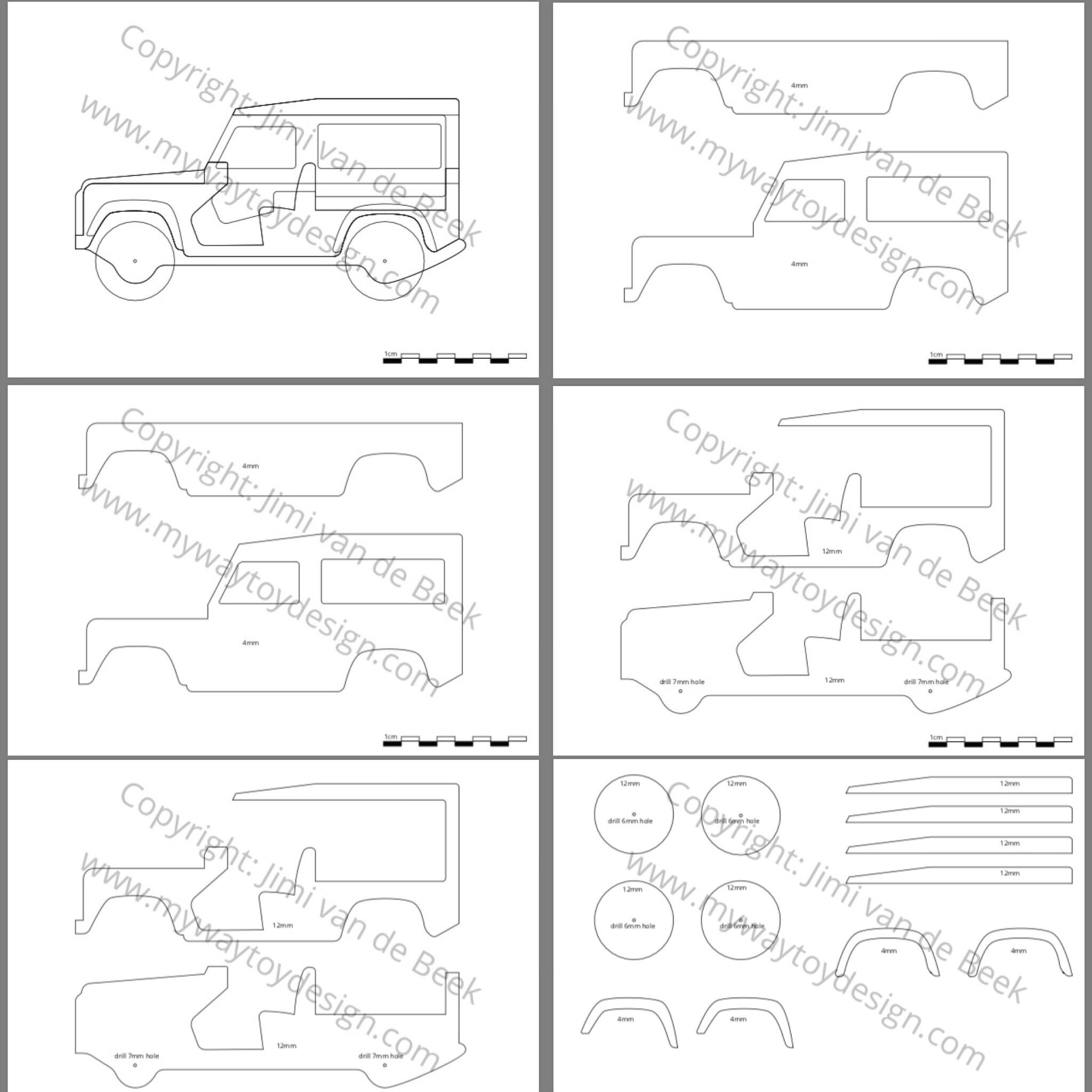 free scroll saw plans to make a wooden land rover toy car