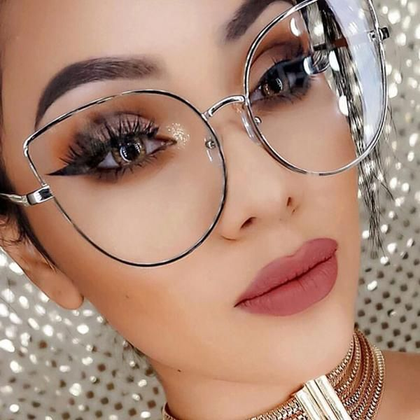 a6cea51056 Fashion Oversize Metal Cat Eye Clear Lens Glasses Pattern Type SolidFrame  Material Stainless SteelFrame Color Silver