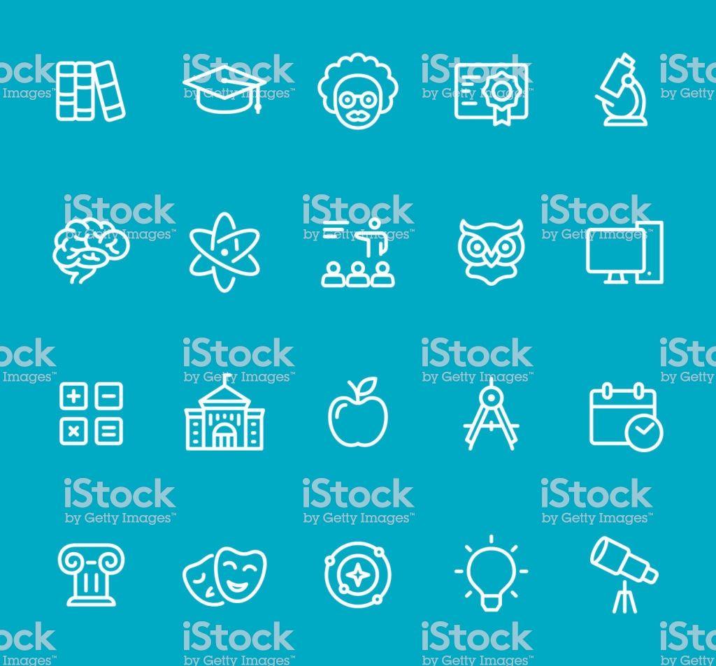 Pixel Perfect Isolated On Blue Icon Set University Education