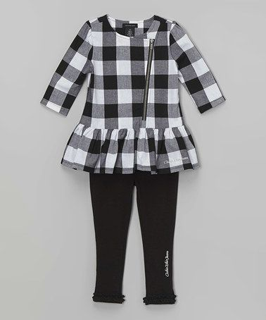 Another great find on #zulily! Black Plaid Ruffle Tunic & Leggings - Infant & Girls #zulilyfinds