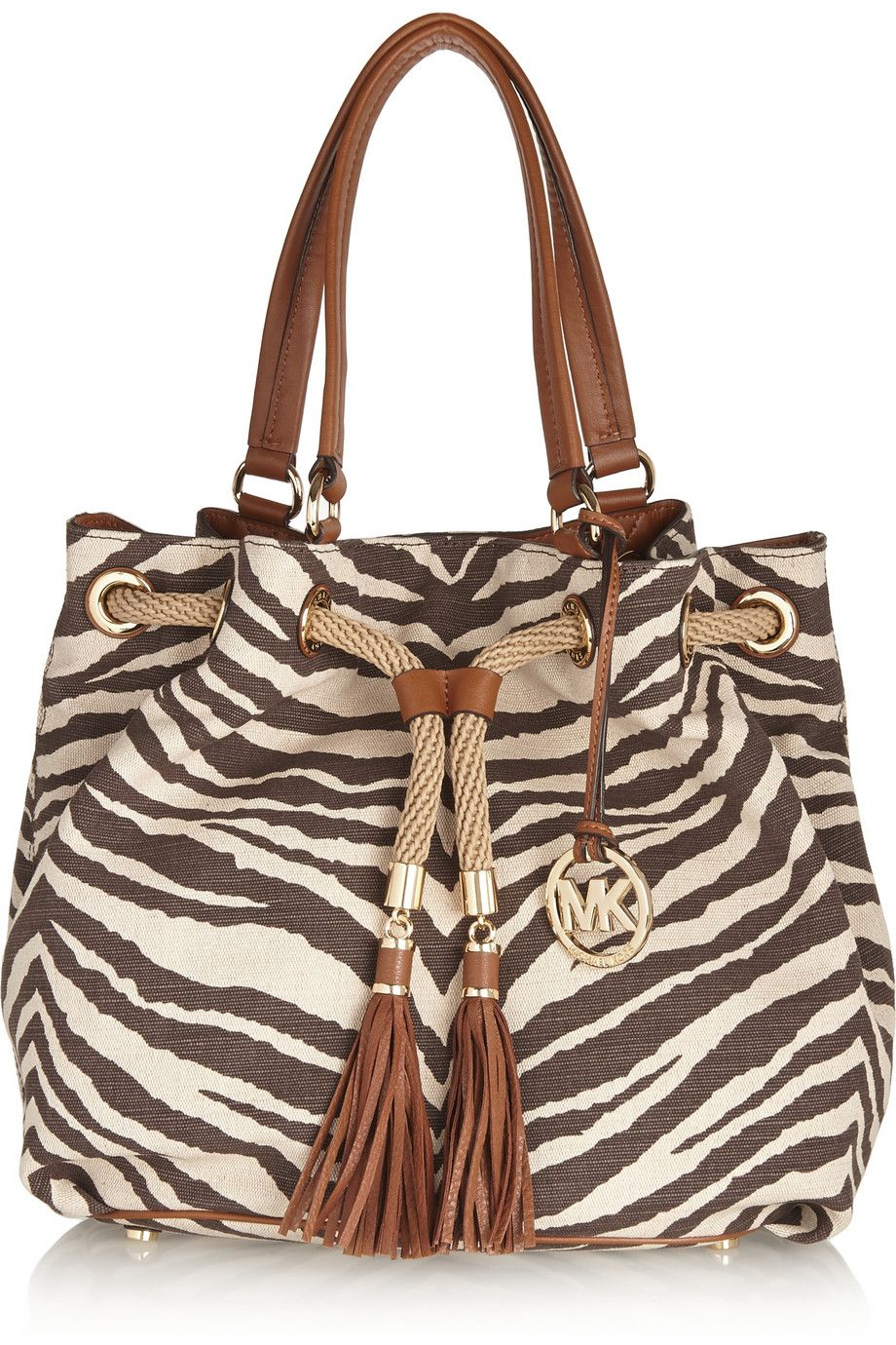 52346c2eaa1dd3 MICHAEL Michael Kors Leather-trimmed zebra-print canvas tote | If ...