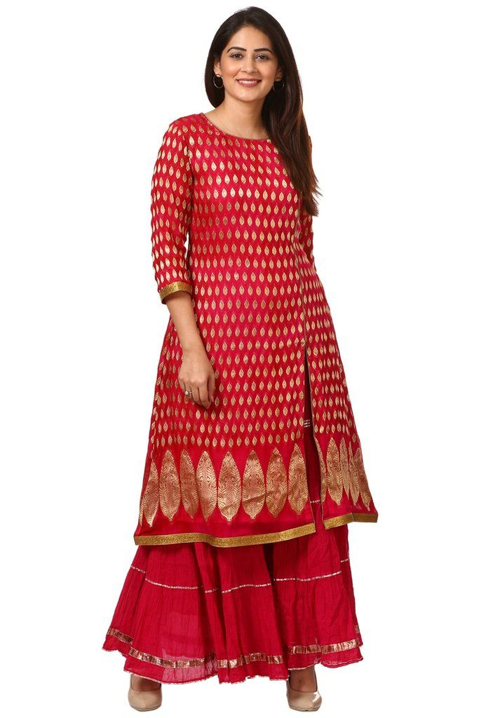 60761969780f47 Pink Red Paisley Long Kurti with Crushed Sharara in 2019 | What am I ...