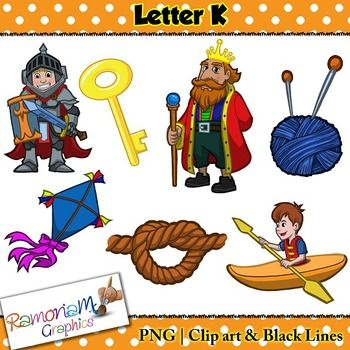 Beginning Sounds, Letter K Clip art set, commercial use ok. This set contains 7 Letter K images (total of 21 in color, black outline and black and white). Each image is PNG and 300dp