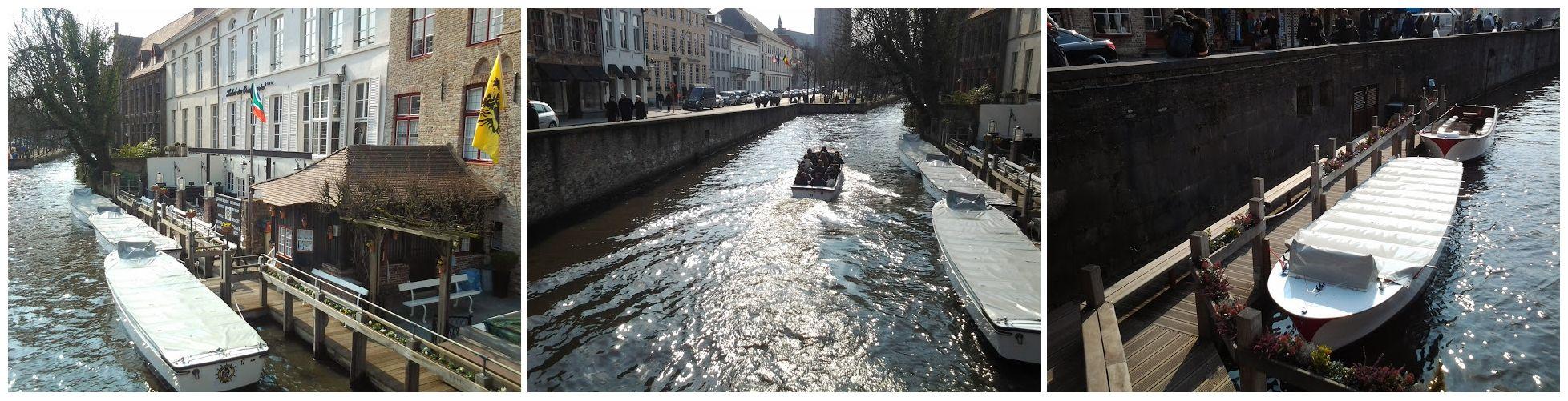 Passeio de barcos pelos muitos canais de Bruges.
