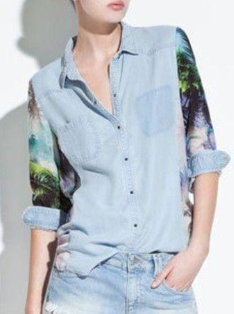 Blue Lapel Floral Long Sleeve Pockets Denim Shirt
