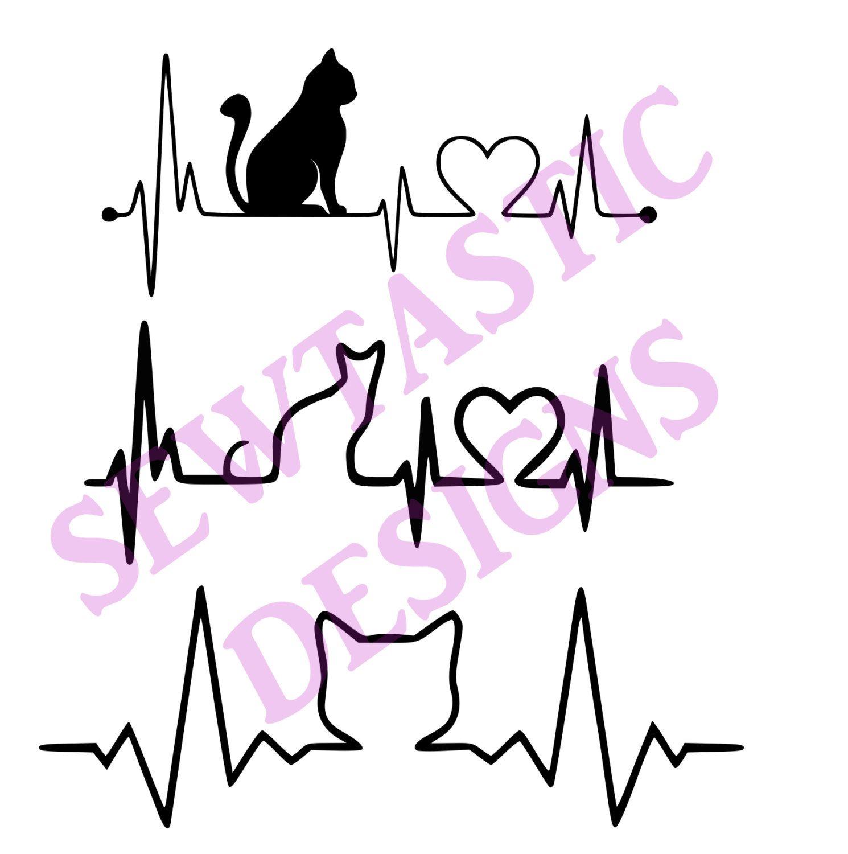 Cat EKG Heartbeat Cut File, Cricut, MTC, Silhouette, ScanNCut, SVG ...