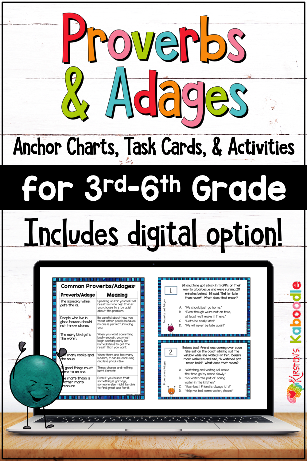 Proverbs and Adages Activities \u0026 Task Cards w/ Digital Distance Learning  Option   Anchor charts [ 1500 x 1000 Pixel ]