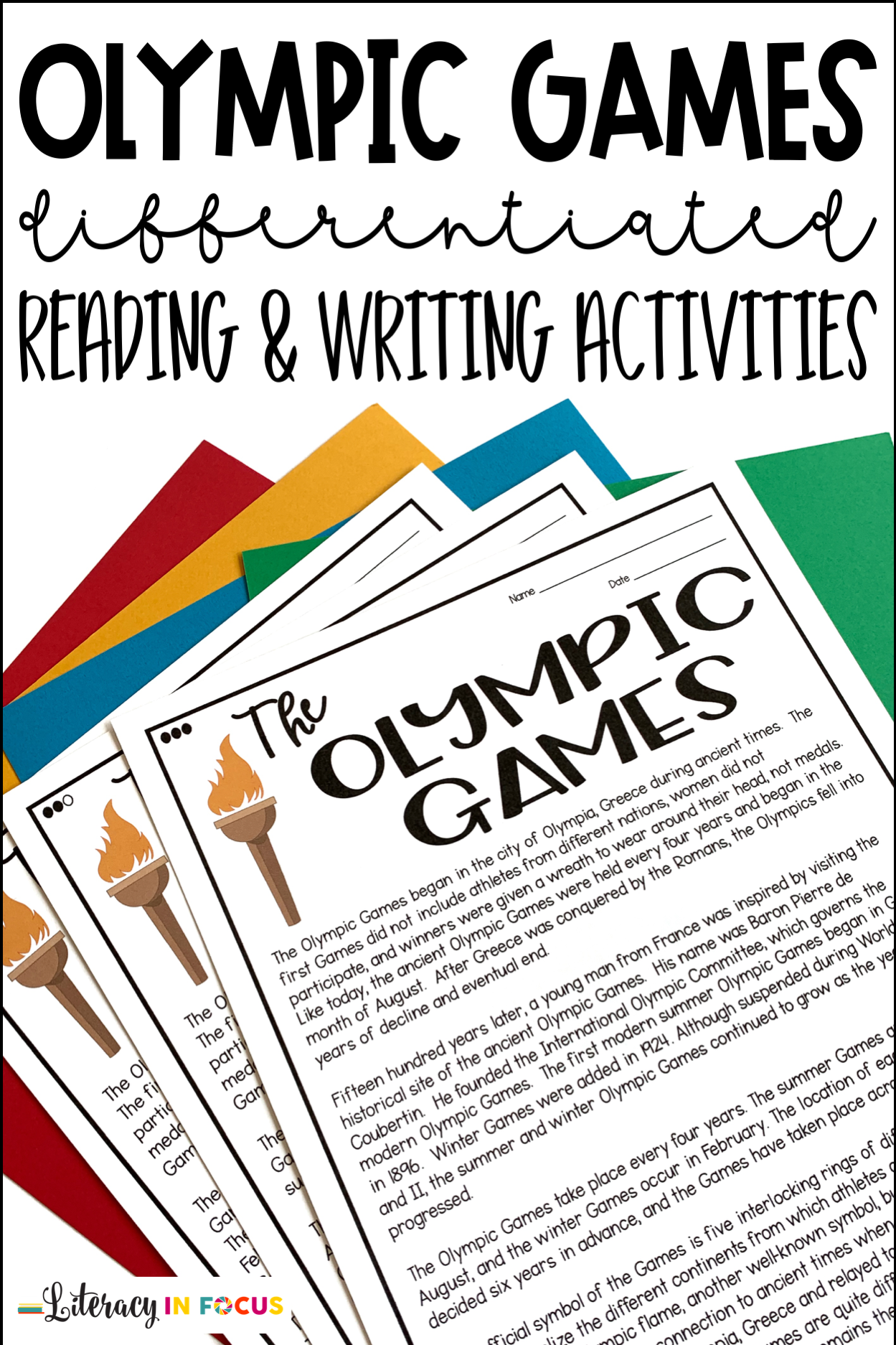 Olympic Games Reading And Writing Activities