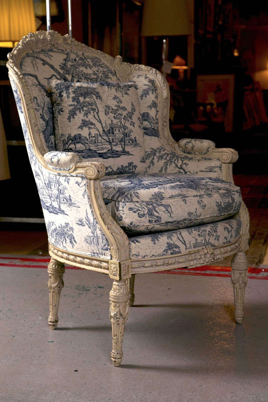 #Interior designers, this @1stdibs 19th C. Antique French Wingback Bergere  Chair can - 19th C. Antique French Wingback Bergere Chair Wingback Chairs