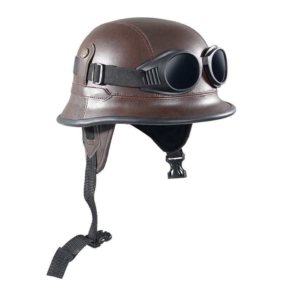 Brown retro vintage leather motorcycle half open face