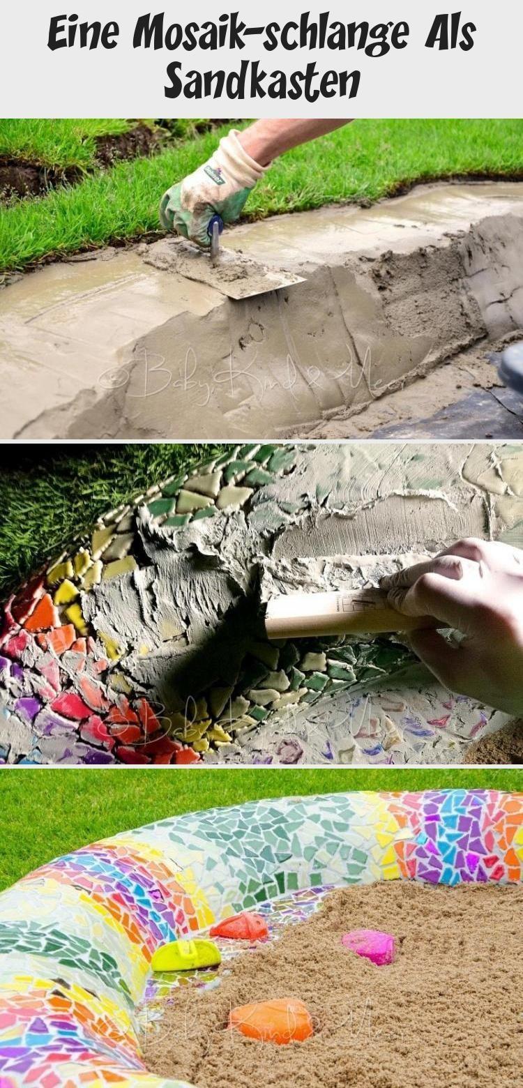EINE MOSAIK-SCHLANGE ALS SANDKASTEN - Hausbau & Garten, DIY, Inspirationen - Baby, Kind und Meer #gartenkunstStein #gartenkunstMetall #gartenkunstBeton #gartenkunstSculpture #gartenkunstModern #Sandkasten mosaik Eine Mosaik-schlange Als Sandkasten