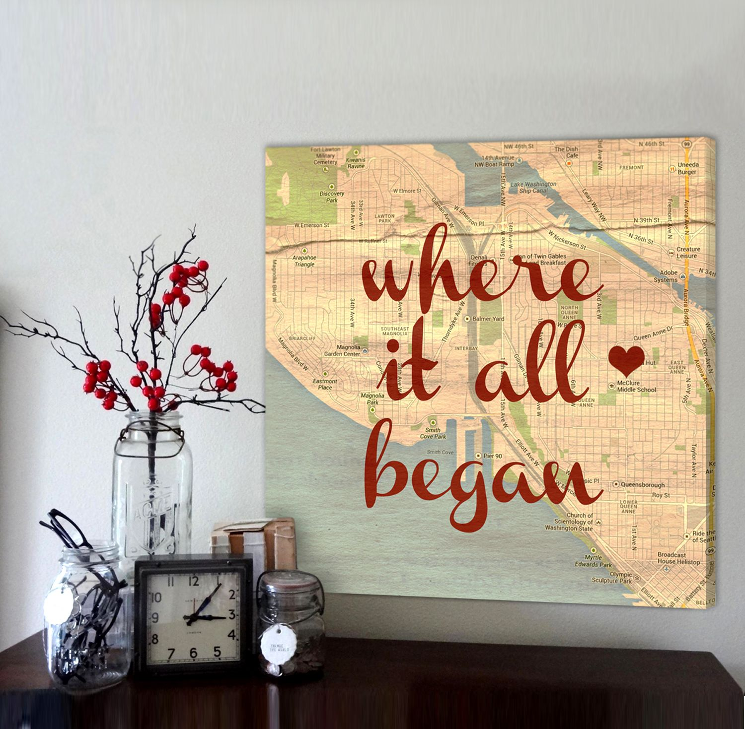 Custom Map Art With Heart In Your Spot, Anniversary Gift