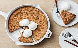 Cinnamon-Chocolate Chunk Skillet Cookie / Photo by Chelsea Kyle, Prop Styling by Astrid Chastka, Food Styling by Anna Hampton