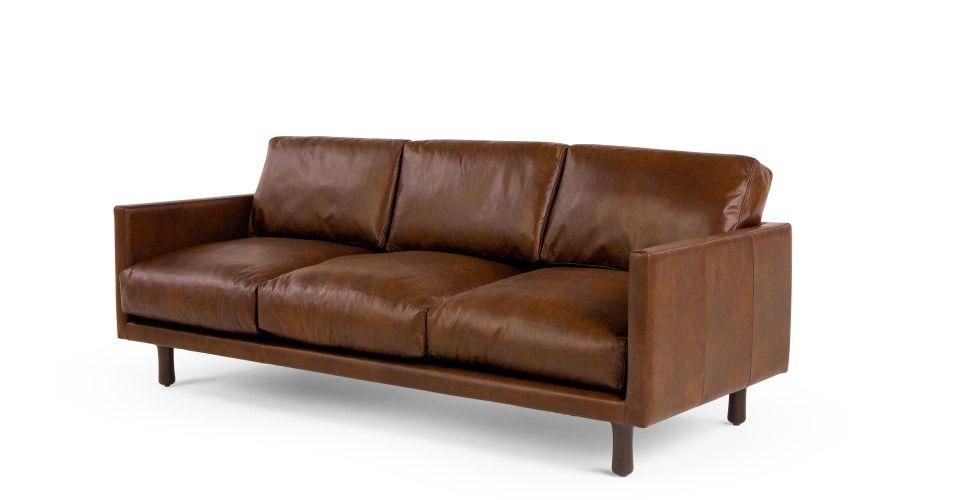 Carey 3 Sitzer Sofa Premium Leder In Hellbraun Braunes