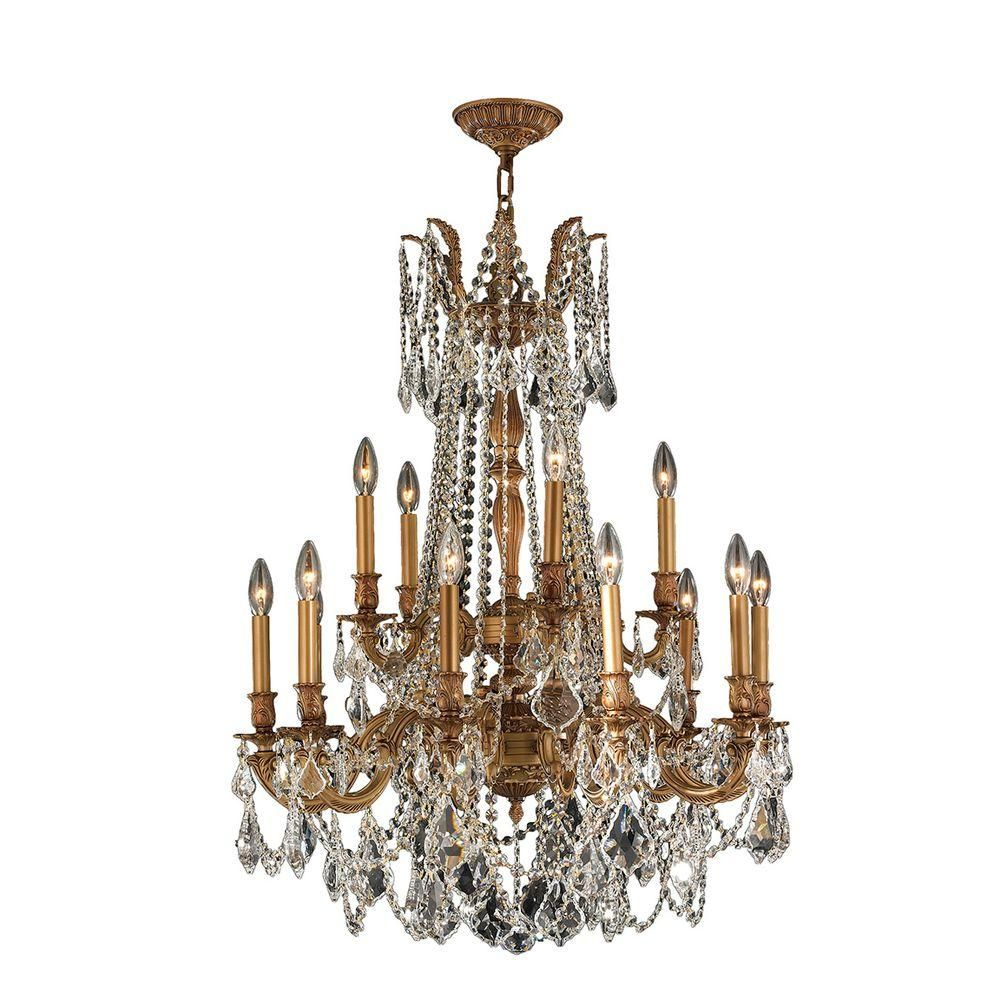 Worldwide lighting windsor 15 light french gold with clear crystal worldwide lighting windsor 15 light french gold with clear crystal chandelier arubaitofo Choice Image