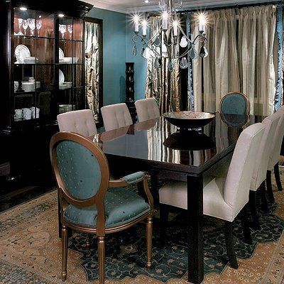 Dining Teal Wall And Accent Gold Head Chairs LOVE