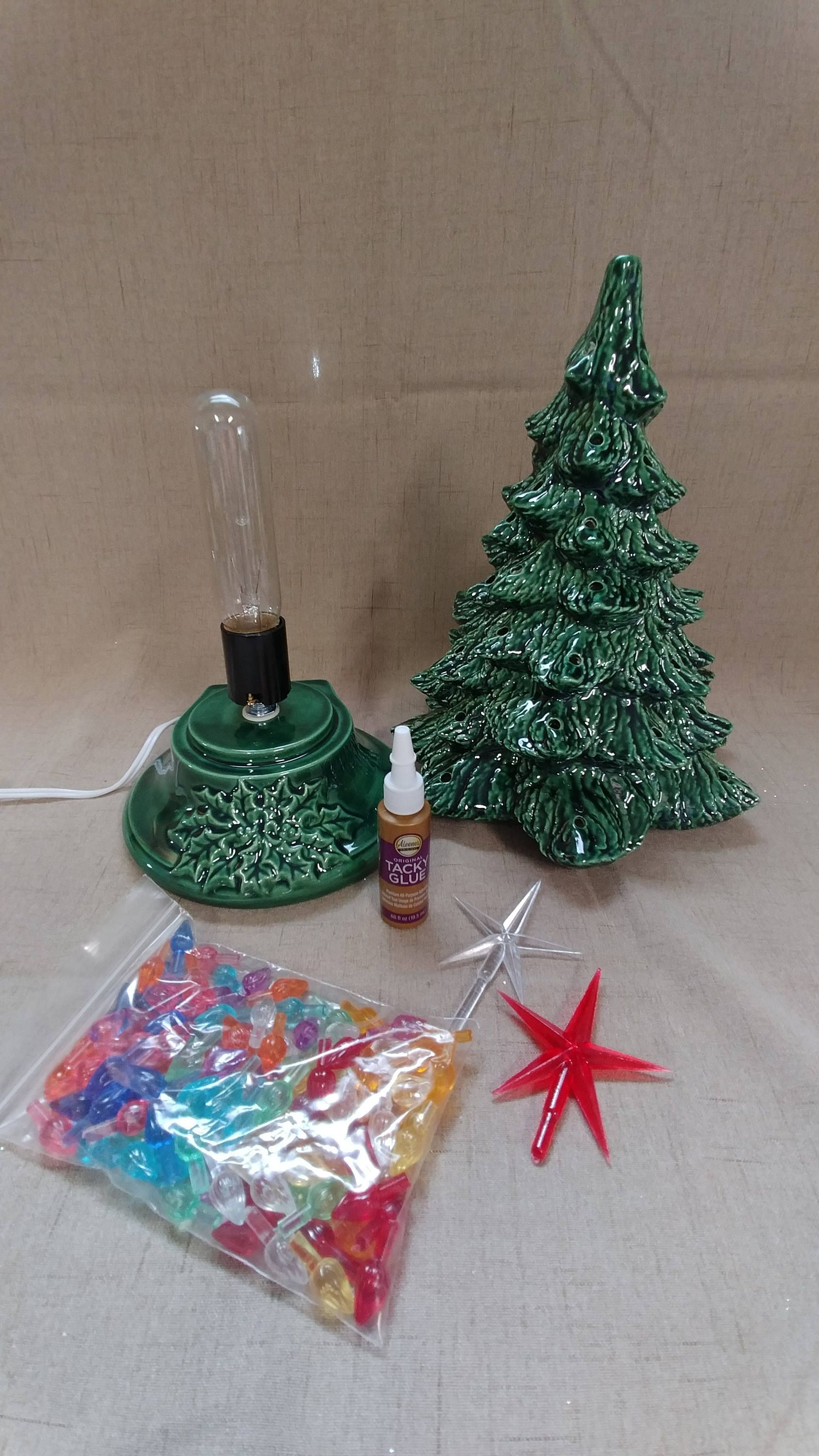 Ceramic Christmas Tree Lighted 14 Nowell Vintage Mold Green