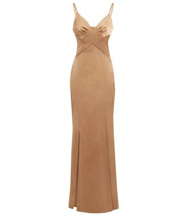 D.Anna Strappy Satin Lingerie Maxi Dress in Gold