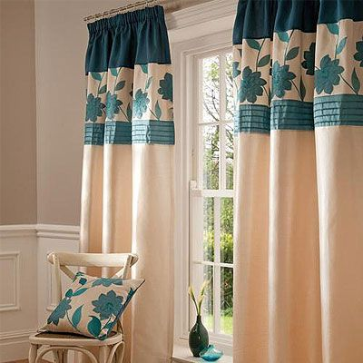 Catherine Lansfield Clarrisa Pencil Pleat Curtains Teal 90 X Inch