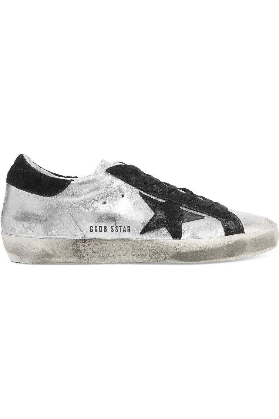 Superstar Distressed Metallic Leather And Suede Sneakers - Silver Golden Goose B9HYyNM