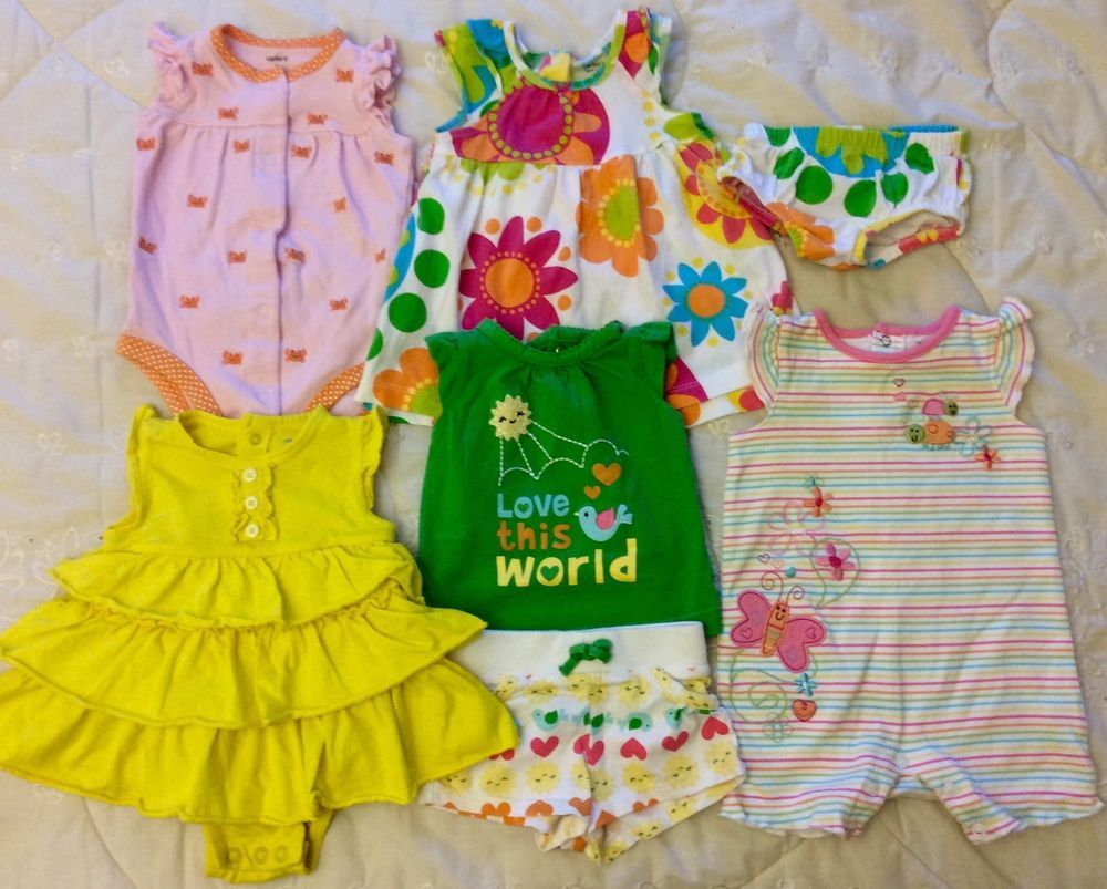 36f11ce64 Baby Girl Lot 3 6 Mo 1   2 PC Outfits Summer Dress Rompers Carter s ...