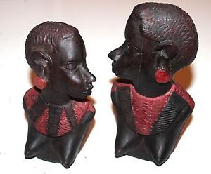 """2 VINTAGE AFRICAN IRON WOOD CARVED HEAD STATUES - 7"""" & 6"""" TALL WOMAN"""