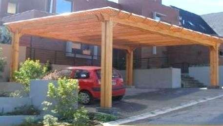 Resultado de imagen para estacionamiento de madera para for Cobertizo de jardin moderno de techo plano