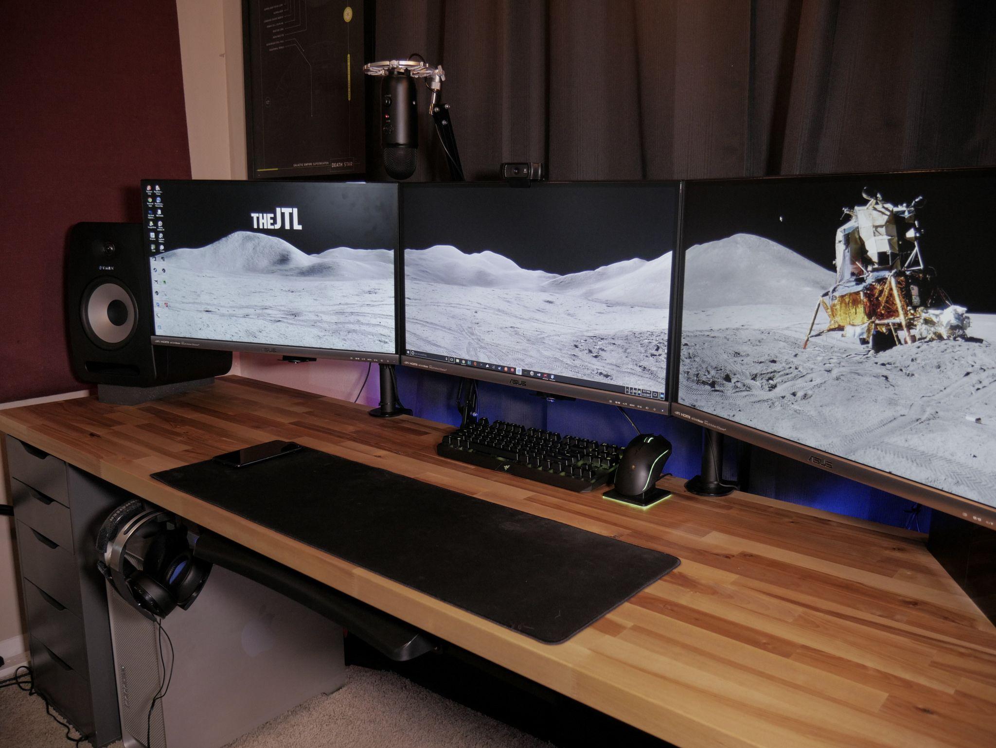 Thejtl Workspace Early 2017 Butcher Block Desk Gamer Room Butcher Block Countertops