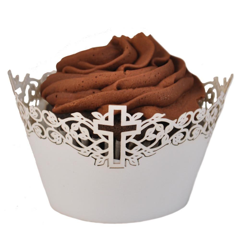 Laser Cut Cupcake Wrapper - Cross   Communion   Pinterest ...