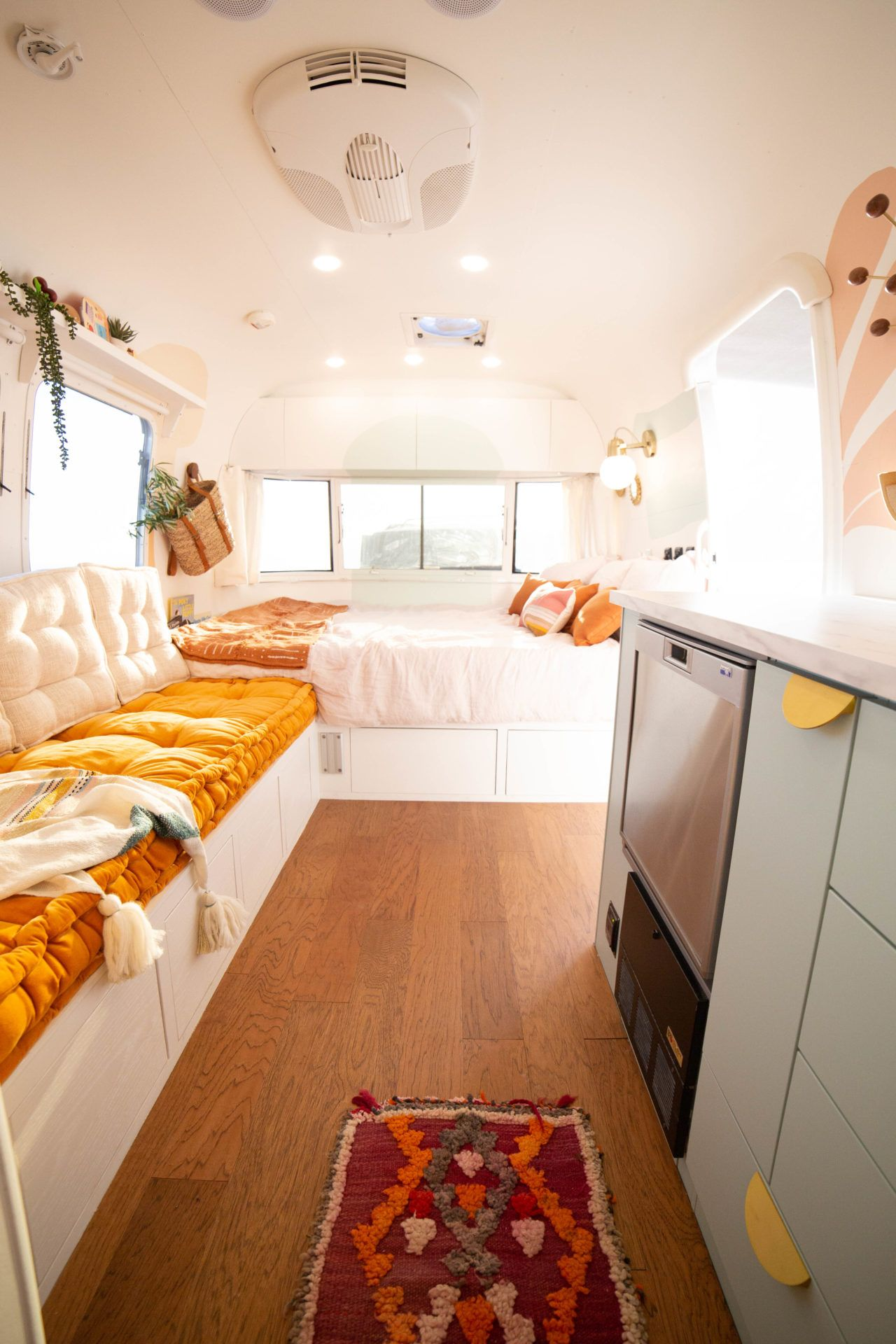 Revealing Our Colorful Tiny Home On Wheels In 2020 House On Wheels Tiny House On Wheels Small Living Room Design #trailer #living #room #ideas