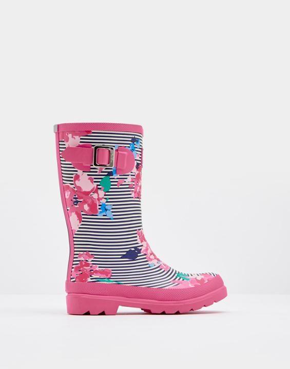 PRINTED Girls Rain Boots Stripe Floral