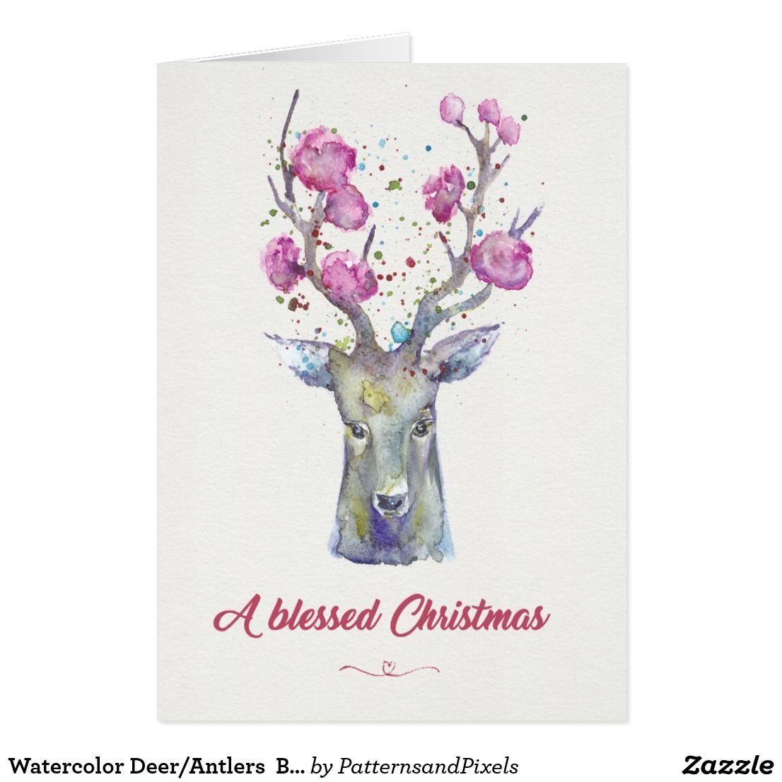 Watercolor deerantlers blessed christmas card christmas cards watercolor deerantlers blessed christmas card kristyandbryce Images