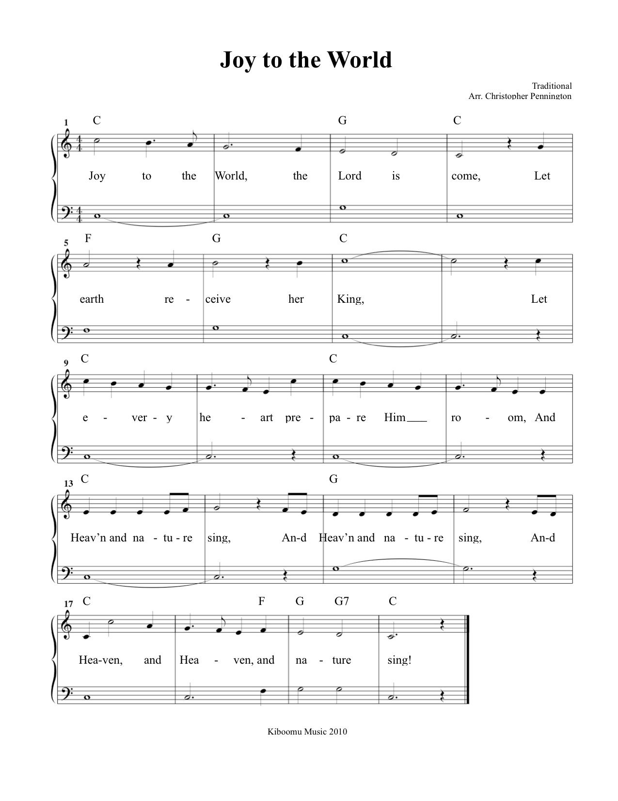 Joy To The World Sheet Music And Song For Kids