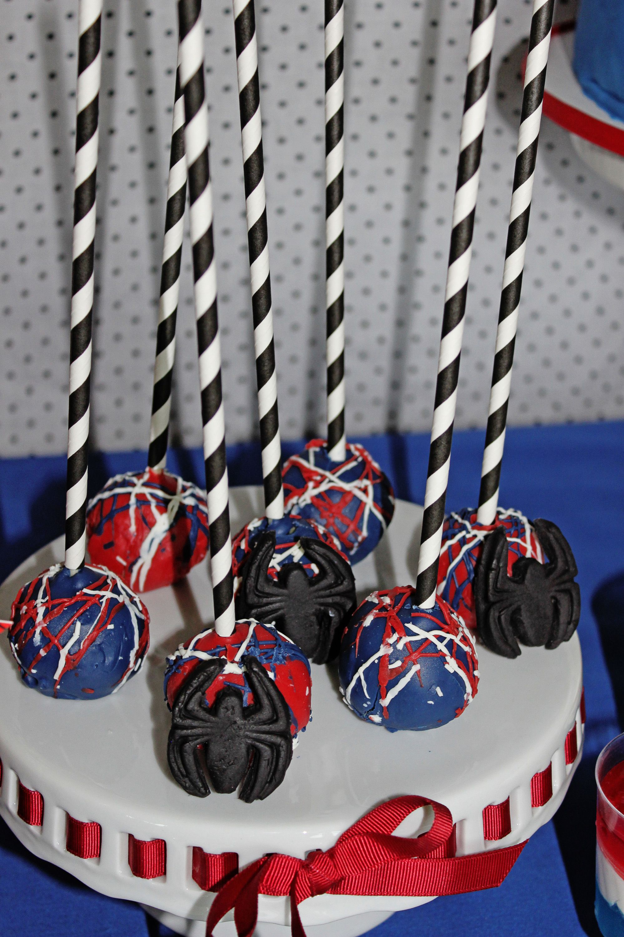 Spiderman Birthday Party Cake Pops Favors Spiders
