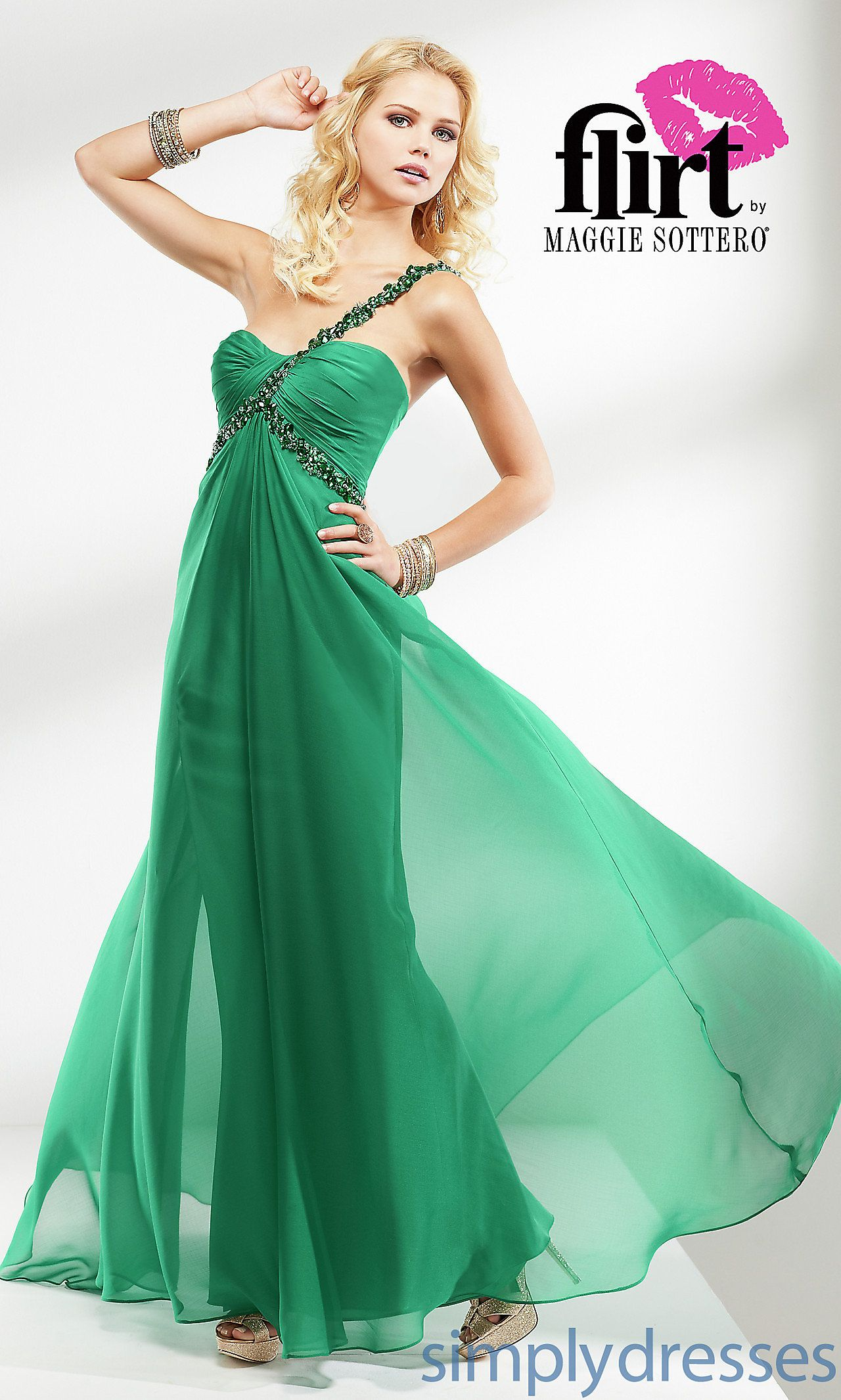 One Shoulder Flowing Dress by Flirt FL-P4614 on sale $99 no ...