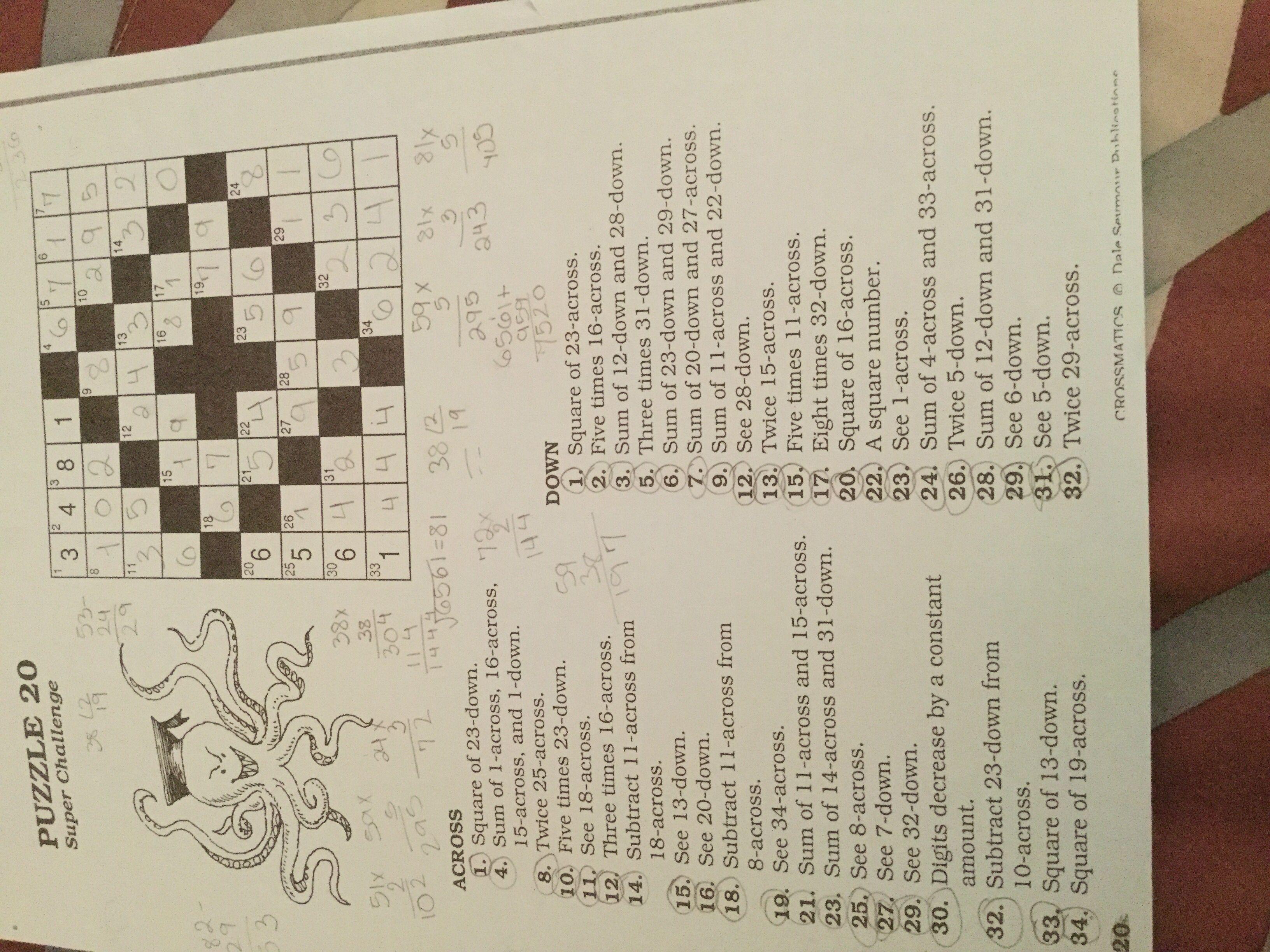Puzzle 20 Crossmatics Dale Seymour Publications Puzzle Math