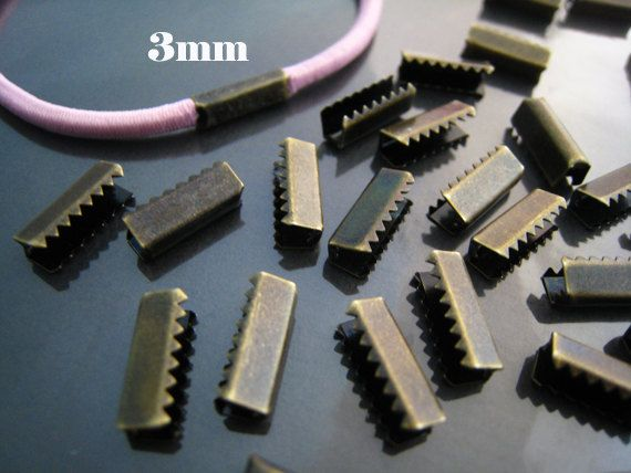 Finding 10 Pcs Antique Brass Metal Fold Over Strong Crimp Head