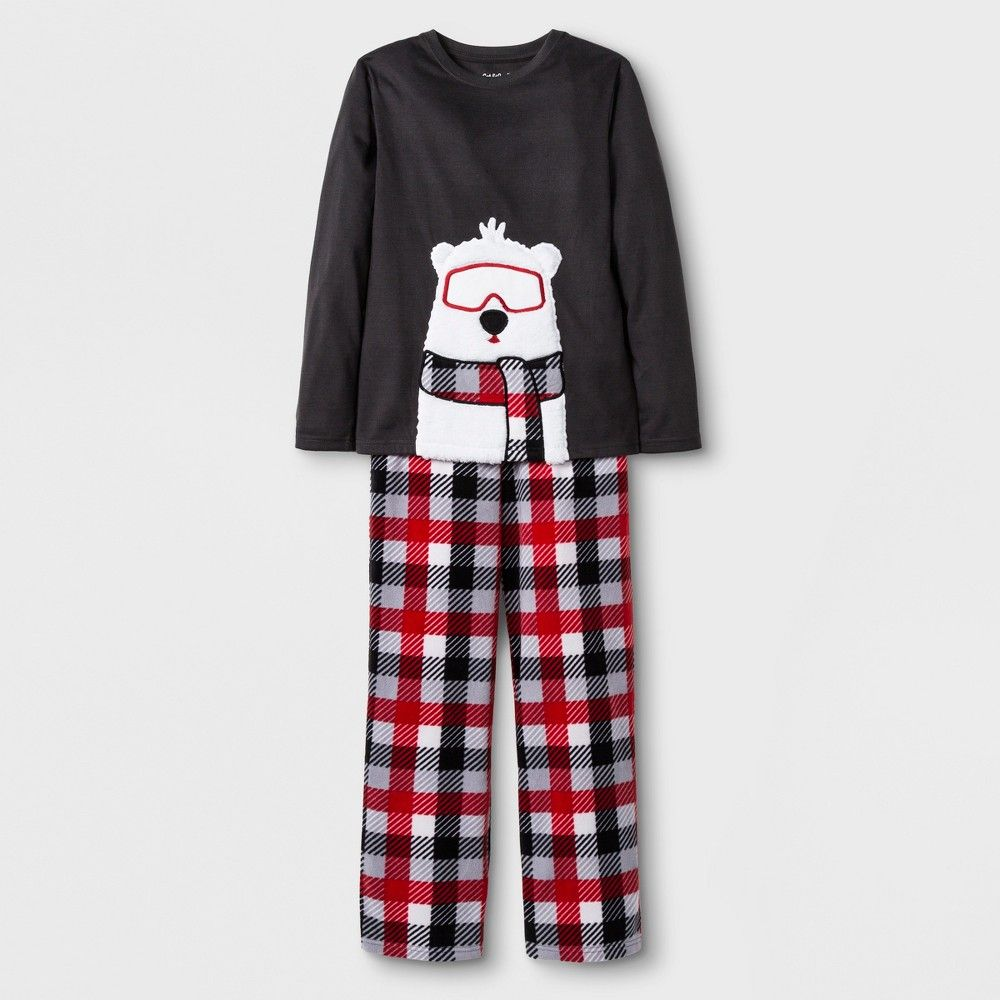 Hell love getting ready for bedtime when he gets to wear this 2-Piece Long- Sleeve Polar Bear Plaid Graphic Pajama Set from Cat and Jack. This boys   pajama ... b74f969e3