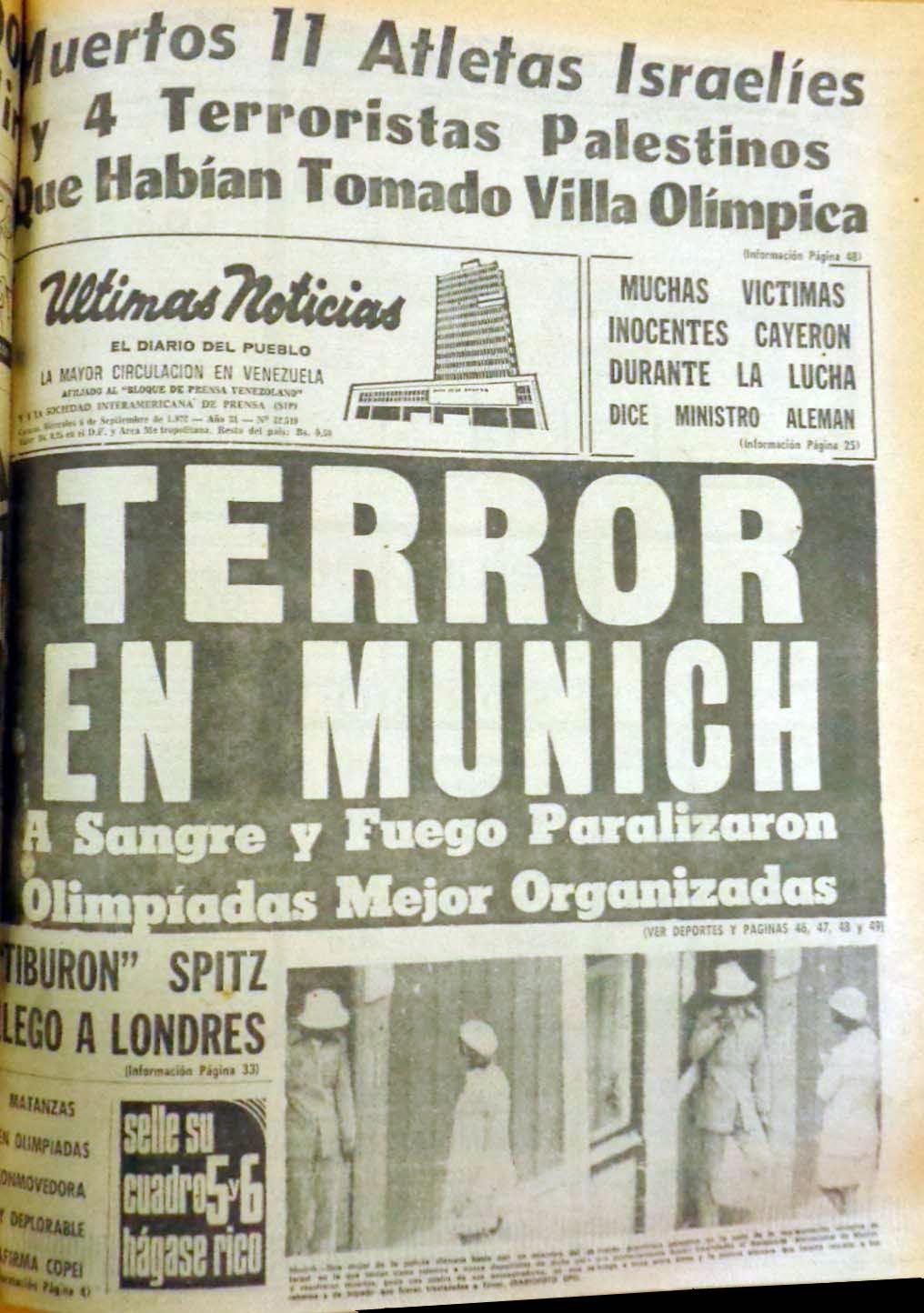 Portada del diario Últimas Noticias, del 6 de septiembre de 1972, sobre el atentado de Septiembre Negro a los Juegos Olímpicos de Munich 1972