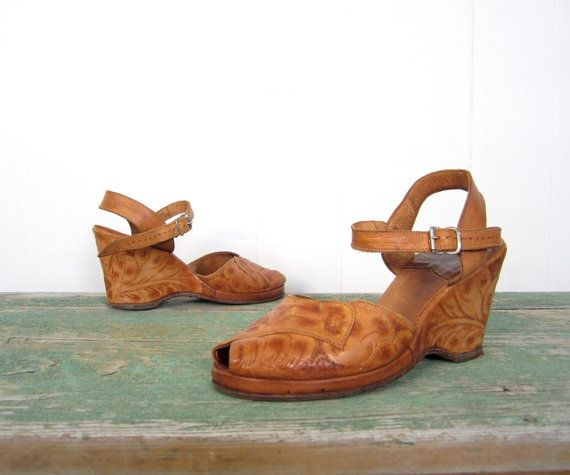 12e76dfcd0bad 40s tooled leather peeptoe wedges | small earth vintage - the shop ...