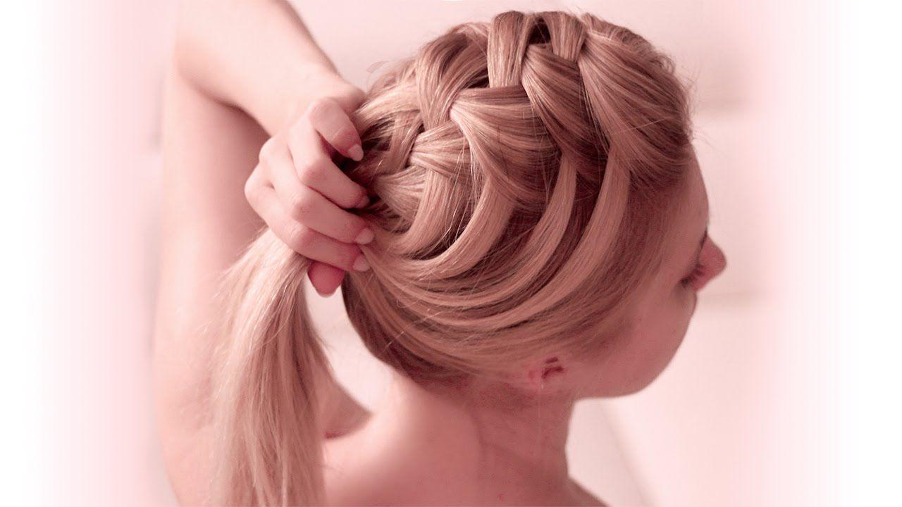 Criss cross waterfall braid hairstyle mediumlong hair tutorial