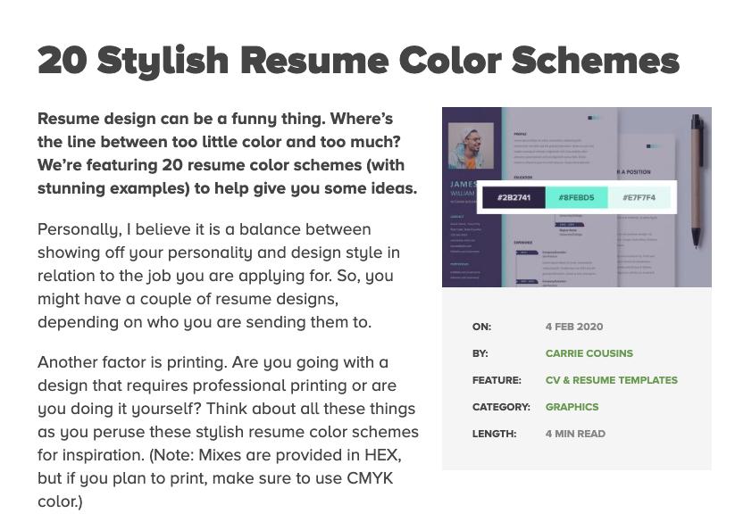 20 Stylish Resume Color Schemes In 2020 Color Schemes Resume Design Cv Resume Template