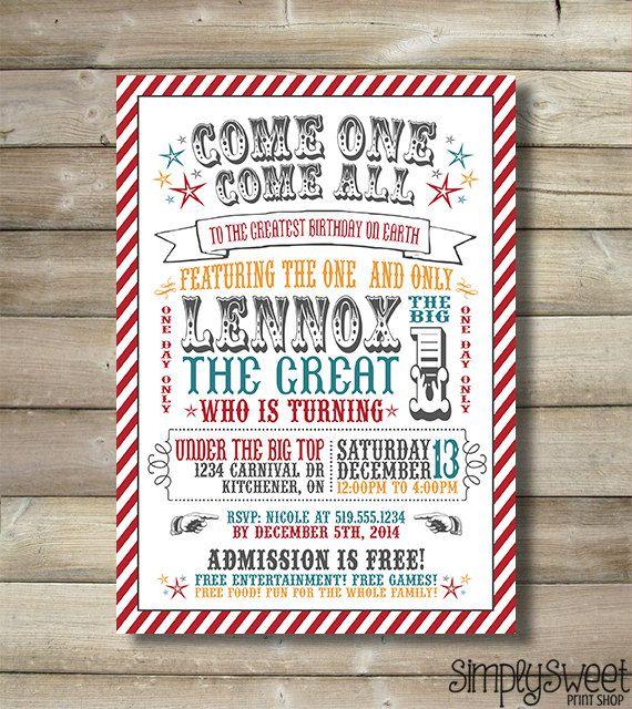 circus invite carnival invite circus invitation carnival invitation